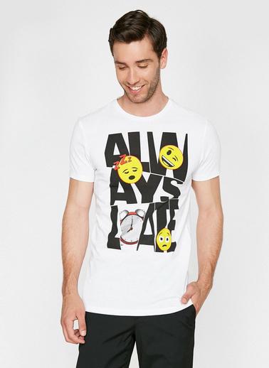 Koton Emoji Lisansli Baskili T-Shirt Beyaz
